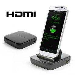 Multi-function HDMI Dock Station for Samsung Galaxy S4 i9500 / S3 i9300 / Note 2 N7100 with Data Sync and Charger - Black