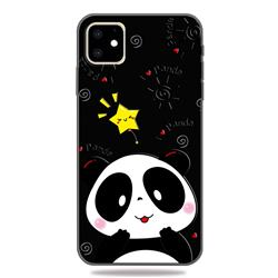 Cute Bear 3D Embossed Relief Black TPU Cell Phone Back Cover for iPhone 11 (6.1 inch)