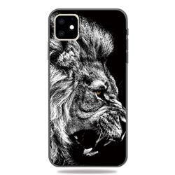 Lion 3D Embossed Relief Black TPU Cell Phone Back Cover for iPhone 11 (6.1 inch)