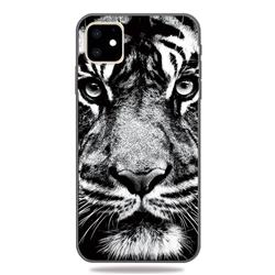 White Tiger 3D Embossed Relief Black TPU Cell Phone Back Cover for iPhone 11 (6.1 inch)