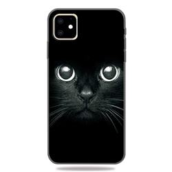Bearded Feline 3D Embossed Relief Black TPU Cell Phone Back Cover for iPhone 11 (6.1 inch)