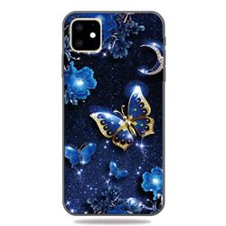 Phnom Penh Butterfly 3D Embossed Relief Black TPU Cell Phone Back Cover for iPhone 11 (6.1 inch)