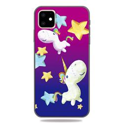 Pony 3D Embossed Relief Black TPU Cell Phone Back Cover for iPhone 11 (6.1 inch)