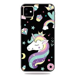 Candy Unicorn 3D Embossed Relief Black TPU Cell Phone Back Cover for iPhone 11 (6.1 inch)