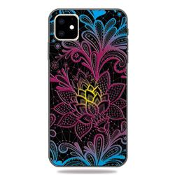 Colorful Lace 3D Embossed Relief Black TPU Cell Phone Back Cover for iPhone 11 (6.1 inch)
