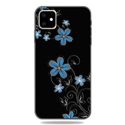 Little Blue Flowers 3D Embossed Relief Black TPU Cell Phone Back Cover for iPhone 11 (6.1 inch)