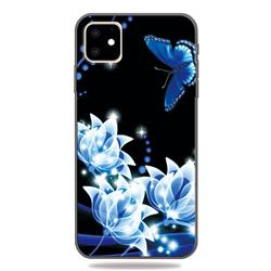 Blue Butterfly 3D Embossed Relief Black TPU Cell Phone Back Cover for iPhone 11 (6.1 inch)