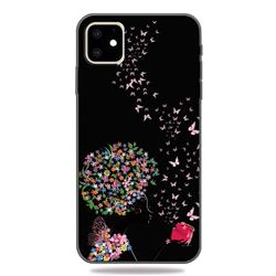 Corolla Girl 3D Embossed Relief Black TPU Cell Phone Back Cover for iPhone 11 (6.1 inch)