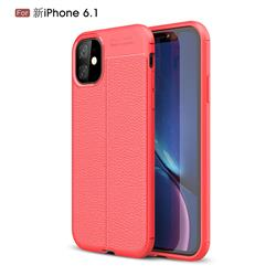 Luxury Auto Focus Litchi Texture Silicone TPU Back Cover for iPhone 11 (6.1 inch) - Red
