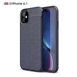 Luxury Auto Focus Litchi Texture Silicone TPU Back Cover for iPhone 11 (6.1 inch) - Dark Blue