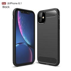 Luxury Carbon Fiber Brushed Wire Drawing Silicone TPU Back Cover for iPhone 11 (6.1 inch) - Black