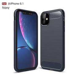 Luxury Carbon Fiber Brushed Wire Drawing Silicone TPU Back Cover for iPhone 11 (6.1 inch) - Navy