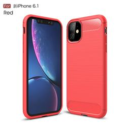 Luxury Carbon Fiber Brushed Wire Drawing Silicone TPU Back Cover for iPhone 11 (6.1 inch) - Red