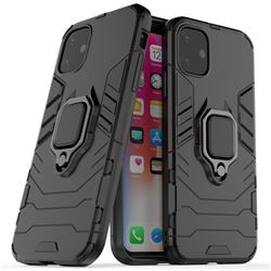 Black Panther Armor Metal Ring Grip Shockproof Dual Layer Rugged Hard Cover for iPhone 11 (6.1 inch) - Black