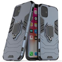 Black Panther Armor Metal Ring Grip Shockproof Dual Layer Rugged Hard Cover for iPhone 11 (6.1 inch) - Blue