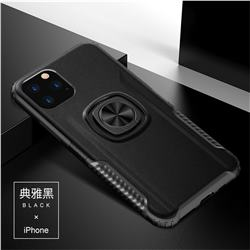 Knight Armor Anti Drop PC + Silicone Invisible Ring Holder Phone Cover for iPhone 11 (6.1 inch) - Black