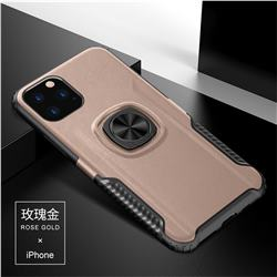Knight Armor Anti Drop PC + Silicone Invisible Ring Holder Phone Cover for iPhone 11 (6.1 inch) - Rose Gold
