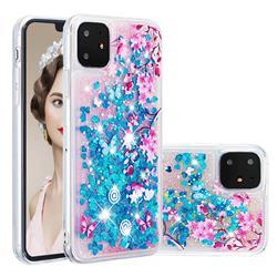 Blue Plum Blossom Dynamic Liquid Glitter Quicksand Soft TPU Case for iPhone 11 (6.1 inch)