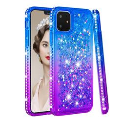 Diamond Frame Liquid Glitter Quicksand Sequins Phone Case for iPhone 11 (6.1 inch) - Blue Purple