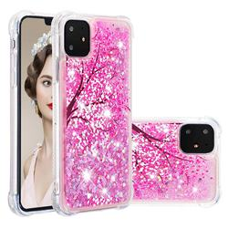 Pink Cherry Blossom Dynamic Liquid Glitter Sand Quicksand Star TPU Case for iPhone 11 (6.1 inch)