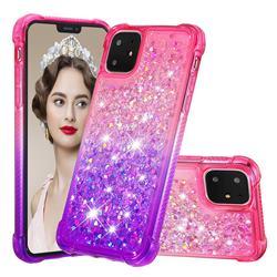 Rainbow Gradient Liquid Glitter Quicksand Sequins Phone Case for iPhone 11 (6.1 inch) - Pink Purple