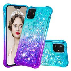Rainbow Gradient Liquid Glitter Quicksand Sequins Phone Case for iPhone 11 (6.1 inch) - Blue Purple