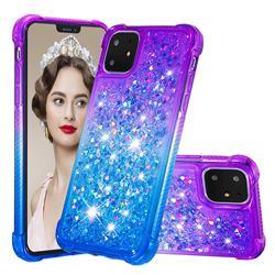 Rainbow Gradient Liquid Glitter Quicksand Sequins Phone Case for iPhone 11 (6.1 inch) - Purple Blue