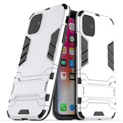 Armor Premium Tactical Grip Kickstand Shockproof Dual Layer Rugged Hard Cover for iPhone 11 (6.1 inch) - Silver