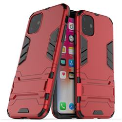 Armor Premium Tactical Grip Kickstand Shockproof Dual Layer Rugged Hard Cover for iPhone 11 (6.1 inch) - Wine Red
