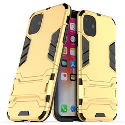Armor Premium Tactical Grip Kickstand Shockproof Dual Layer Rugged Hard Cover for iPhone 11 (6.1 inch) - Golden