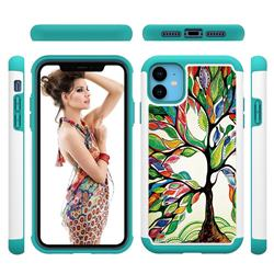 Multicolored Tree Shock Absorbing Hybrid Defender Rugged Phone Case Cover for iPhone 11 (6.1 inch)