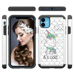 Tiny Unicorn Studded Rhinestone Bling Diamond Shock Absorbing Hybrid Defender Rugged Phone Case Cover for iPhone 11 (6.1 inch)