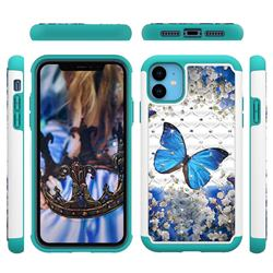 Flower Butterfly Studded Rhinestone Bling Diamond Shock Absorbing Hybrid Defender Rugged Phone Case Cover for iPhone 11 (6.1 inch)