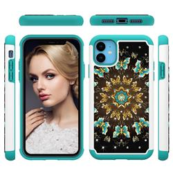 Golden Butterflies Studded Rhinestone Bling Diamond Shock Absorbing Hybrid Defender Rugged Phone Case Cover for iPhone 11 (6.1 inch)