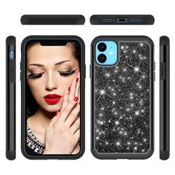 Glitter Rhinestone Bling Shock Absorbing Hybrid Defender Rugged Phone Case Cover for iPhone 11 (6.1 inch) - Black