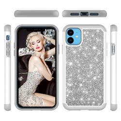 Glitter Rhinestone Bling Shock Absorbing Hybrid Defender Rugged Phone Case Cover for iPhone 11 (6.1 inch) - Gray