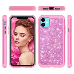 Glitter Rhinestone Bling Shock Absorbing Hybrid Defender Rugged Phone Case Cover for iPhone 11 (6.1 inch) - Pink