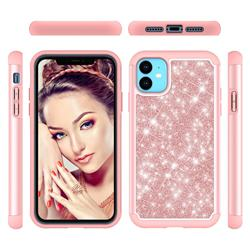 Glitter Rhinestone Bling Shock Absorbing Hybrid Defender Rugged Phone Case Cover for iPhone 11 (6.1 inch) - Rose Gold