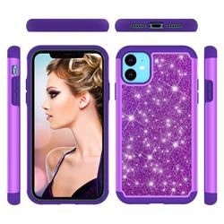 Glitter Rhinestone Bling Shock Absorbing Hybrid Defender Rugged Phone Case Cover for iPhone 11 (6.1 inch) - Purple