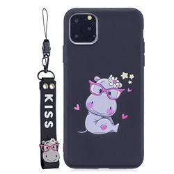 Black Flower Hippo Soft Kiss Candy Hand Strap Silicone Case for iPhone 11 (6.1 inch)