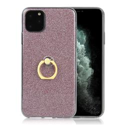 Luxury Soft TPU Glitter Back Ring Cover with 360 Rotate Finger Holder Buckle for iPhone 11 (6.1 inch) - Pink