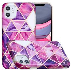 Purple Dream Triangle Painted Marble Electroplating Protective Case for iPhone 11 (6.1 inch)