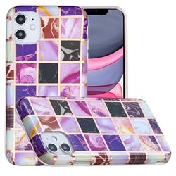 Square Puzzle Painted Marble Electroplating Protective Case for iPhone 11 (6.1 inch)