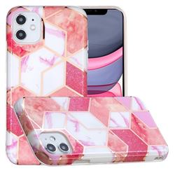 Cherry Glitter Painted Marble Electroplating Protective Case for iPhone 11 (6.1 inch)