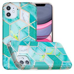 Green Glitter Painted Marble Electroplating Protective Case for iPhone 11 (6.1 inch)