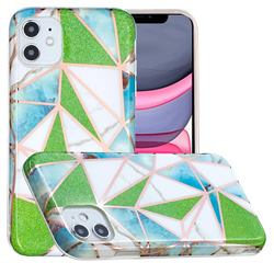 Green Triangle Painted Marble Electroplating Protective Case for iPhone 11 (6.1 inch)