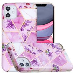 Purple Flower Painted Marble Electroplating Protective Case for iPhone 11 (6.1 inch)