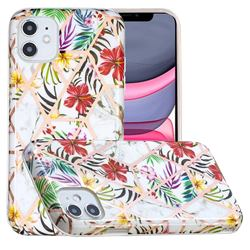 Tropical Rainforest Flower Painted Marble Electroplating Protective Case for iPhone 11 (6.1 inch)