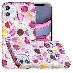 Round Puzzle Painted Marble Electroplating Protective Case for iPhone 11 (6.1 inch)