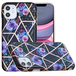 Black Flower Painted Marble Electroplating Protective Case for iPhone 11 (6.1 inch)
